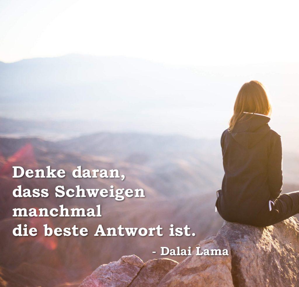 Denke daran, dass Schweigen manchmal die beste Antwort ist. Dalai Lama