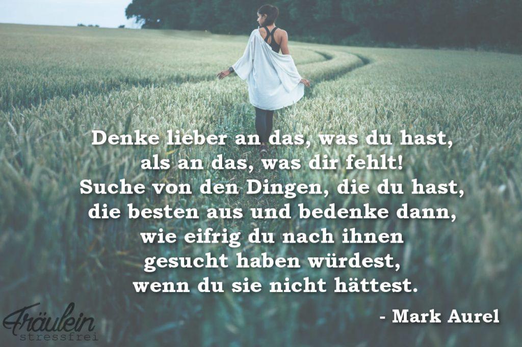 Denke lieber an das, was du hast, als an das, was dir fehlt. Suche von den Dingen, die du hast, die besten aus und bedenke dann, wie eifrig du nach ihnen gesucht haben würdest, wenn du sie nicht hättest. Mark Aurel