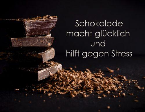 Schokolade macht glücklich  und  hilft gegen Stress